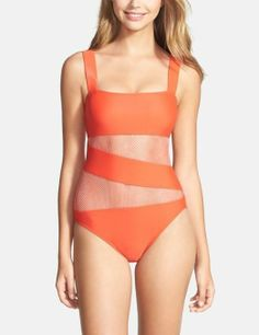 Coral and gorgeous! Love this mesh cut out one-piece swimsuit.