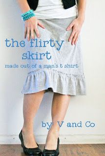 skirt patterns, ruffl, diy fashion, blue green, men tshirt, men shirts, women's skirts, old t shirts, flirti skirt