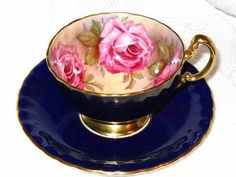 <3 Exquisite Cobalt Blue Bold Pink Lush Roses Aynsley Fancy Tea Cup and Saucer
