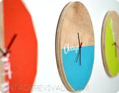 DIY Color Blocked Clocks. Easy as 1,2,3. Love them! #crafts #decor