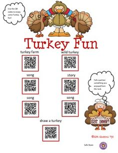Great for centers and early finishers! IPad/iPod/tablet activities! Make learning fun with iPads/tablets! Students love scanning and learning with QR codes! Thanksgiving and Turkey Fun using QR Codes K-2 $ Find this in our bundle called Autumn Bundle using QR Codes at 50% off! THANKSGIVING AND TURKEY FUN USING QR CODES - K-2 $