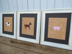 Farm Animal Prints on Burlap 8x10 / Kid's Wall Art / Nursery Decor / Primitive Wall Art