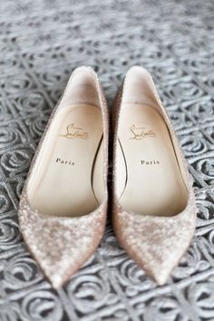 christian louboutin sparkly silver flats