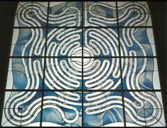 Labyrinth St. Josef Church   Germany, Aachen  Artist: Prof. Ludwig Schaffrath  #labyrinth  Mouthblown Lamberts glass, leaded stained glass