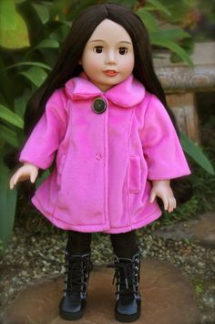 Bubblegum Pink Plush Coats for American Girl and 18 inch Dolls are at www.harmonclubdolls.com Soft as a plush soft toy and fully lined with a front snap and decorate button. Worn here by our Melody Rose 18 inch Doll. Purchase your 18 inch Melody Doll at www.harmonyclubdolls.com