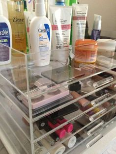 Clear Acrylic Makeup Organizer Free Shipping by AcrylicOrganizers