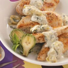 chicken with basil artichoke sauce