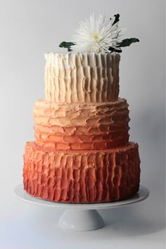 Rustic ombre wedding cake