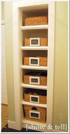 hall closet, the doors, bathroom closet, bathrooms, basket, hallway closet, linen closets, open shelving, small closets