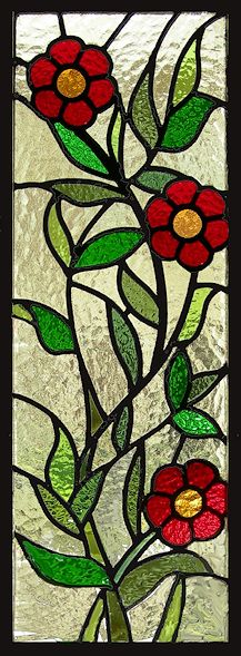 stained glass flowers window panel by AGlassMenagerie.net