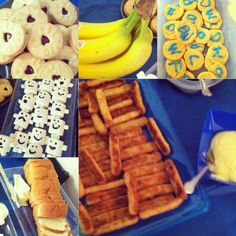 Doctor Who Party food!!! Jammy Dodgers, Bananas, Bad Wolf Cookies, Adipose Marshmallows, Bread and butter, AND Fish Fingers and Custard!