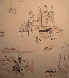 retro pink poodle wallpaper