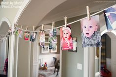 Cute way to show off baby's monthly photos at a party or as every day decor! Display Photos, Birthday Banners, Birthday Parties, Photo Displays, Grad Parties, 1St Birthday, Picture Displays, First Birthdays, Parti Idea