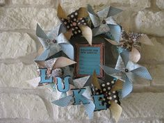 New Arrival Welcome Baby Wreath - Pale Aqua & Brown Shabby Chic - CUSTOM via Etsy