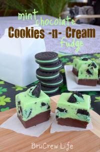Mint Chocolate Cookies N Cream Fudge on MyRecipeMagic.com. This minty fudge will be popular at your holiday party.