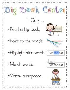 "Literacy Center ""I Can"" activity posters"