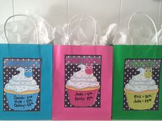 Fun for a classroom birthday display!  Gift bags and tissue with each month attached to the bag.