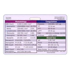 Laboratory Values Badge Card Reference Horizontal for Nurse Medic EMT for ID Badge Clip Strap or Reel Lab on Etsy, $1.99