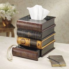 Books tissue box with drawer