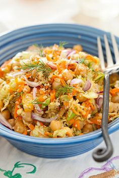 Vitamin Garbanzo Beans Salad - Healthy Lunch #salad, #garbanzo, #hemp_seeds, #healthy, #lunch, #onion, # herbs, #orange, #apple, #carrots