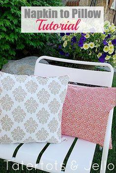 5 Minute Pillow Refashion. Napkin to Pillow Cover!