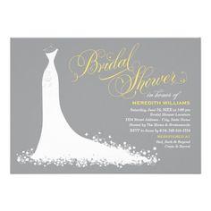 Bridal Shower Invitation | Elegant Wedding Gown Design in White Yellow & Gray Color Scheme