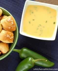 Pretzel Bites with Jalapeno Cheddar Cheese Sauce - A delicious snack or even serve as an appetizer | A Kitchen Addiction