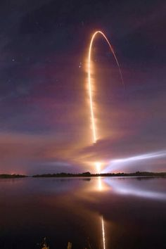 Night time Space shuttle launch captured by time lapse photography