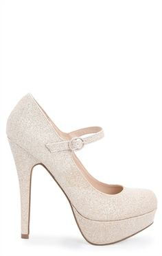 Deb Shops Glittery Platform Pump with Maryjane Strap $22.14
