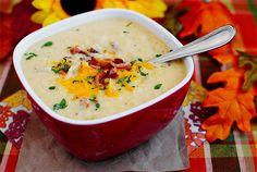 baked potatoes, cauliflower soup, cauliflow chowder, food, chowders, baked potato soup, baconcheddar cauliflow, iowa girl eats, bacon cheddar