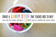 Simplify Your System and Teach Kids to Help With Laundry idea, laundry tips, wash cloth, bowl full, kids laundry organization, lemon, teach kid