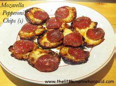 Mozzarella Pepperoni Chips (s)  Recipe: http://www.thelittlemomwhocould.com/2014/04/21/mozzarella-pepperoni-chips-s/