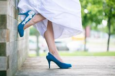Wedding Shoes - Teal Blue Bridal Shoes/Wedding Shoes with Ivory Lace. US Size 10 via Etsy
