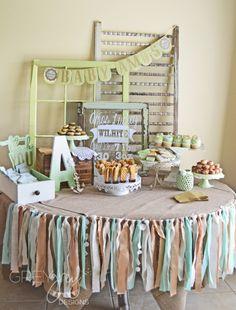 Shabby Chic Baby Shower Dessert Table - love the vintage window + scrap fabric banner! #babyshower #shabbychic
