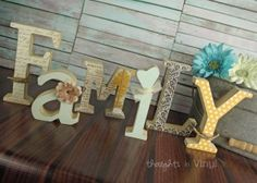 Family wooden letters