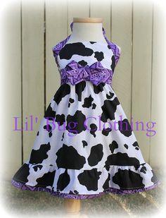 Custom Boutique Clothing Country Purple Bandana Cowgirl Western Jumper Dress Halter Style. $42.00, via Etsy.