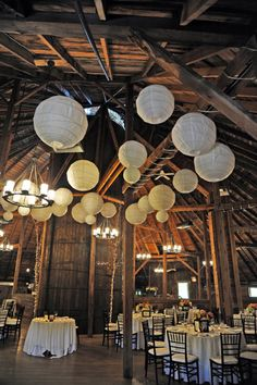 Barn Wedding, paper lanturns add whimsy