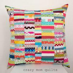 scrap happy pillow - crazy mom quilts Nice job, Crazy Mom!