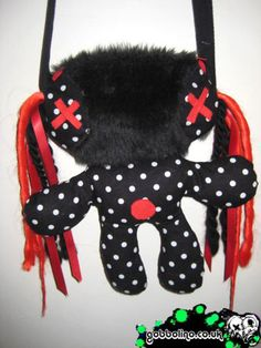 £18 CYBER GOTH ALIEN DOLL RAVE BAG - GOTHIC RED AND BLACK