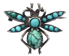 1890s victorian turquoise brooch, erie basin