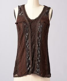 Take a look at this Seal Brown Bright Eye Tank by Down East Basics on #zulily today!