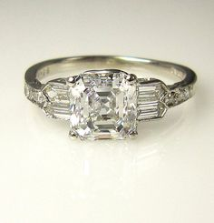 GIA Art Deco 2.53ct Antique Vintage Asscher Cut Diamond Engagement Ring in PLATINUM, Circa1920