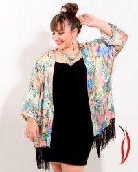 Loja Virtual Plus Size www.tamanhosespeciais.com.br Kimono Tropical #souxiquete Ju Romano Xica Vaidosa GG Plus+ 50 52 54 56