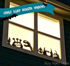 Simple Scary Monster Windows via Busy Mom's Helper #Halloween #windowdecor #DIY