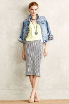 #Checked #Knit #Pencil #Skirt #Maeve #Anthropologie