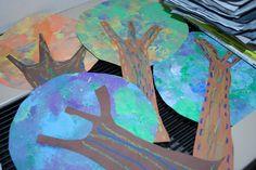 Paper Trees--kindergarten- coffee filter canopy.