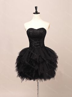 Puffy Black Lace Ball Gown Sweetheart Neckline Mini Homecoming Dress, short prom dress with Lace up