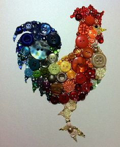Kitchen Rooster of buttons, handmade by BellePapiers.