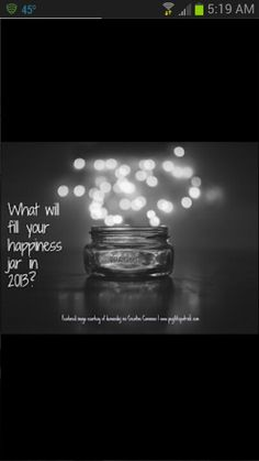 2013 HAPPINESS JAR 1. Get a really cool jar. 2. Each day add a little note of the best moment of that day.  3. Repeat each day in 2013. 4. Reap the benefits of being greatful and happy in 2013.