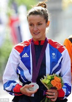 First medal of the Games: Lizzie Armitstead with her Silver medal following the Women's Road Race along the Mall